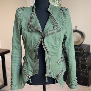 Jackets & Blazers - Green Moto Jacket with Metallic Studs